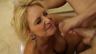 I cum on my friend's mom's big tits