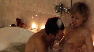 Couples sex in foamy bath