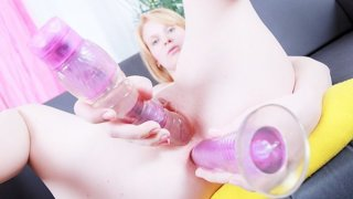 DP with dildo toy for a kinky girl