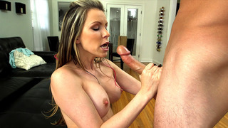 Courtney Cummz attacks his cock and balls orally