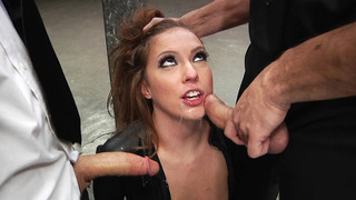 Maddy O'Reilly is made to suck two giant schlongs