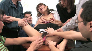 Japanese maid gets her both holes annihilated in gangbang