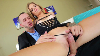 Trisha Parks teasing his hard rod with her pussy