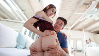 Her step bro taking care of her anal needs
