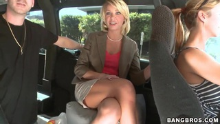 Hot milf Harley Summers poses in a real Bang Bus