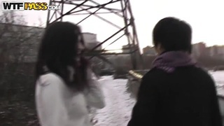 The brunette doll Nika doing public blowjob