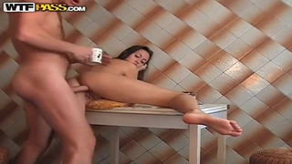 Brunette Viktoria gets her twat pounded in kitchen