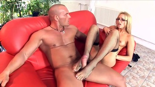 Blonde cop fucking in stockings and stilettos