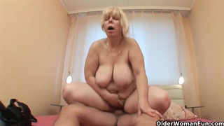 Mom takes a hard cum shooter up her ass