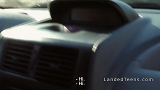 Three teen hitchhikers banging in the car