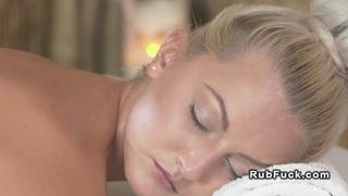 Sexy blonde gets creampie from masseur