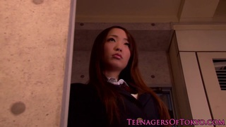 Innocent asian teenager watching bdsm action