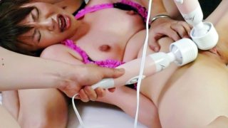 Four guys have a blast using vibrators on sweet Kana Mimuras little pussy