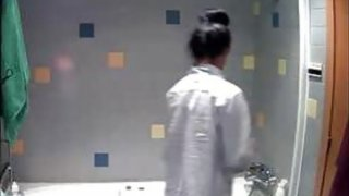 My niece uwaware of bathroom spy cam