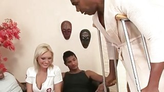 Blonde nurse worships 3 giant black cocks