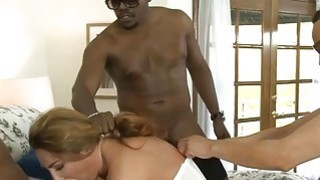 Kinky babe Savannah Fox fucked in both holes by black men