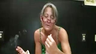Milf Offers Her Sensual Handjob While Smoking
