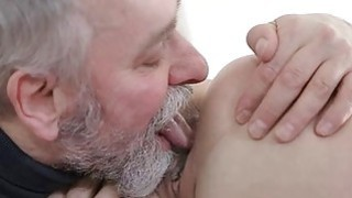 Young playgirl takes old nasty ramrod in her mouth