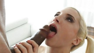 Big black cock inside her white pussy