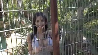 Bigtit sucking in outdoor eagle cage