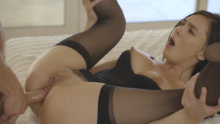 Marley Brinx wearing stockings enjoys intense anal fucking