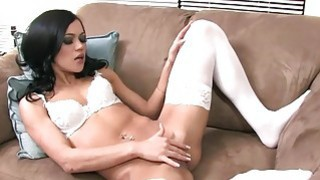 Mandy fingering in white stockings and panties