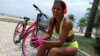 Playful Senorita goes for a ride at the beach