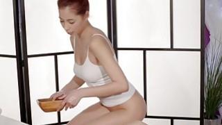 Redhead masseuse massaging hairy lesbo babe
