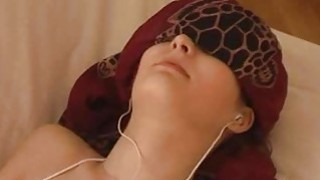 Blindfolded teen getting facial