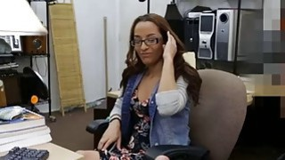 Brunette college girl with glasses fucked by pawn dude