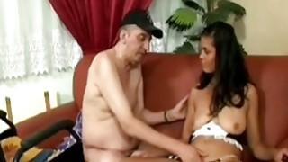 Legless guy fucks amazing brunette chick