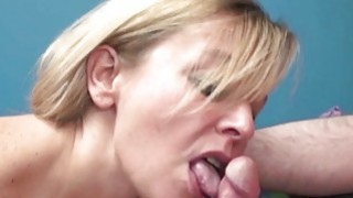 Liisa is sucking a stiff cock in the office
