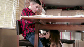 Ariella Ferrera sucks BFF son's cock underneath the table