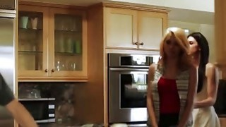 Good looking stepson banging hot stepmom in the kitchen