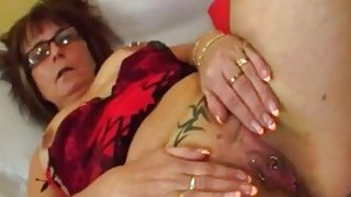 Nasty old lady Jana takes advantage of younger dude with big hard dick