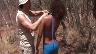 African submissive slut deepthroated and fucked hard outdoor