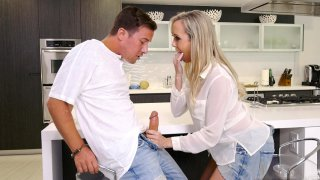 Blonde mom Brandi Love gives nice hand and blow jobs