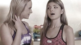 Girlfriends seduces and fucks gym instructor
