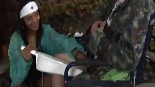 Naughty nurse strokes on old handicap dudes cock
