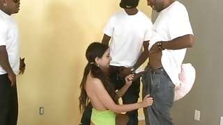 Slim teen slut gets her tight ass rammed by black men