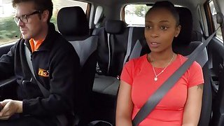 Fake driving instructor bangs natural busty ebony