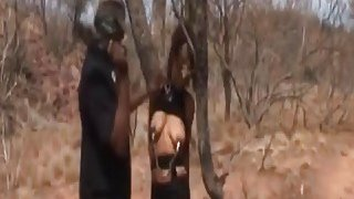 Rough deepthroat and nipple torment with busty African slut