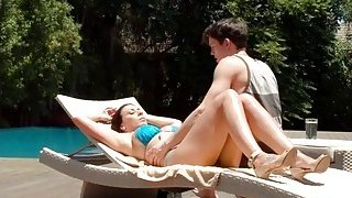 Busty MILF gets fucked by her horny stepson outdoors