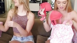 Blonde teens satisfying each other