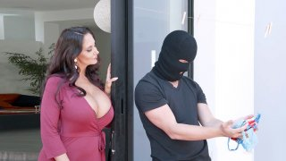 Ava Addams caught the panties' thief and invited him in the house
