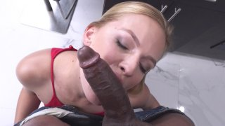 Sloan Harper sucks the black anaconda in the kitchen