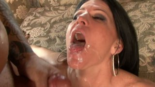 Ugly brunette whore Kendra Secrets pleases two cocks and gets fed with a double portion of jizz