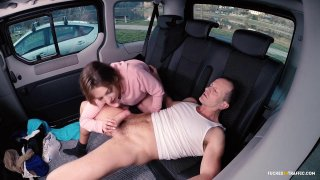 Cute teen suck and fucks and older guy in taxi