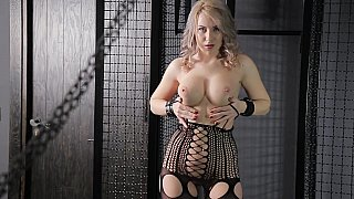 Sex dungeon masturbation session with a busty blonde