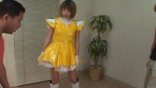 Foolish Japanese bitch Miku Horikoshi is wearing creepy outfit